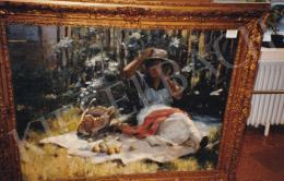 Pécsi-Pilch Dezső - Piknik, olaj,vászon, 95x122 cm, Jelezve jobbra lent:Pilch D 921; Fotó: Kieselbach Tamás