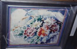 Pécsi-Pilch Dezső - Dáliák, olaj,fa, 48x38 cm, Jelezve jobbra lent: Pécsi Pilch 931; Fotó: Kieselbach Tamás