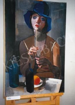 Aba-Novák, Vilmos - Laura (Girl in Blue Hat), 1929, private ownership, Photo: Tamás Kieselbach