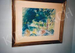 Vaszary János - Asztalnál (Kerti mulatság), pasztell, papír, Jelezve jobbra lent: Vaszary, Fotó: Kieselbach Tamás