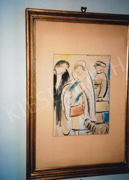 Vaszary János - Párizsi nő bundában, akvarell, papír, Jelezve jobbra fent: ... Vaszary J., Fotó: Kieselbach Tamás