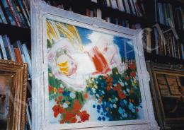 Vaszary János - Virágoskertben heverő lány, olaj, vászon, Jelezve balra lent: Vaszary J., Fotó: Kieselbach Tamás