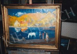Szőnyi István - Itatás, 1930 körül, olaj, vászon, 65,5x84,5 cm, Jelezve balra lent: Szőnyi I., Fotó: Kieselbach Tamás