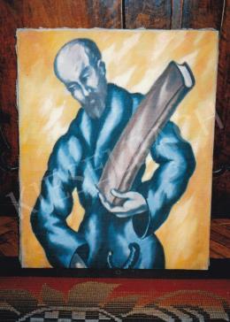 Schadl János - Könyvet tartó alak, olaj, vászon, 63,5x50 cm, Jelzés nélkül, Fotó: Kieselbach Tamás