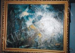 Schadl János - Menekülők, olaj, karton, 61x78 cm, Jelezve balra lent: S.J. 928, Fotó: Kieselbach Tamás