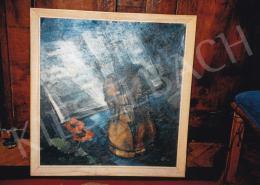 Schadl János - Csendélet hegedűvel, Jelezve jobbra lent: S.J., Fotó: Kieselbach Tamás