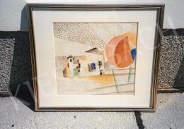 Kádár Béla - Áttűnéses házak, 1925 körül, 28,5x30,5 cm, akvarell, papír, Jelzés nélkül, Fotó: Kieselbach Tamás