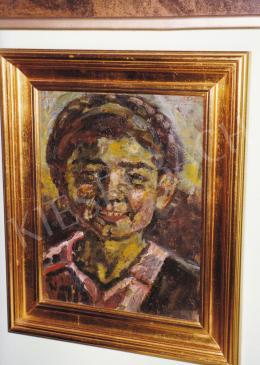 Nagy István - Nevető kislány, 1920-as évek, olaj, karton, 35x28 cm, Jelezve balra lent: Nagy István, Fotó: Kieselbach Tamás