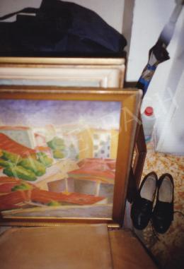 Pap Géza - Városrészlet vörös háztetőkkel (Tabán), olaj, karton, 70x50 cm, Jelezve jobbra lent: Pap Géza; Fotó: Kieselbach Tamás
