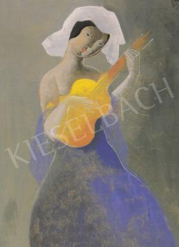 Kádár Béla - Hölgy gitárral, 1930 körül, vegyes technika, papír, 50x34 cm