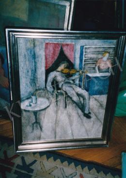 Bartoniek Anna - Bárban (Hegedűszó), olaj, vászon, Fotó: Kieselbach Tamás