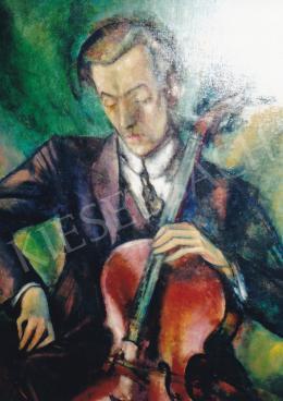 Márffy Ödön - Csellózó férfi, olaj, vászon, Fotó: Kieselbach Tamás