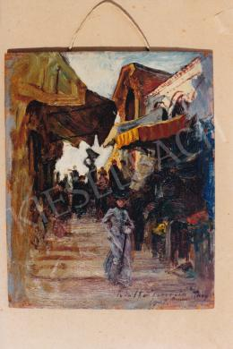 Háry Gyula - Vásári forgatag elegáns hölggyel, olaj, vászon, Jelezve jobbra lent: Háry, Fotó: Kieselbach Tamás