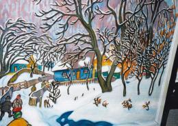 Boromisza Tibor - Nagybánya télen, 1911 festmény és hátoldala (95,5x105,5 cm Olaj, vászon) Jelezve a hátoldalon: Boromisza Tibor NB. 1911 Fotó: Kieselbach Tamás