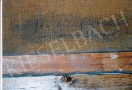Vaszary János - A művész festményének hátoldala, feleségének autográf felirata és egyéb kiállítási címkék Fotó: Kieselbach Tamás