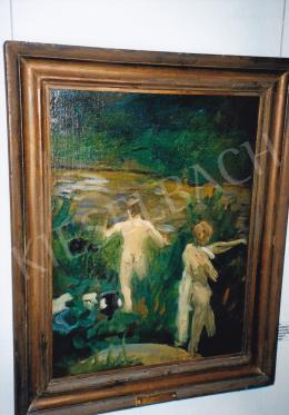 Ferenczy Károly - Esti fürdés, Fürdőző fiúk (vázlat) / Fürdő ifjak, 1902; olaj, vászon; 65x48; Jelzés nélkül; Fotó: Kieselbach Tamás