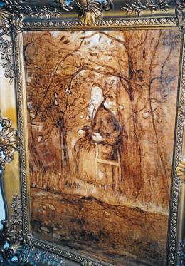 Ferenczy Károly - Ülő idős alak a természetben; Jelezve jobbra fent: Ferenczy Károly; Fotó: Kieselbach Tamás