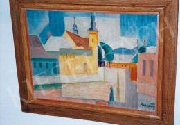 Kmetty János - Városrészlet templommal; olaj, vászon; Jelezve jobbra lent: Kmetty; Fotó: Kieselbach Tamás