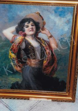 Geiger, Richárd - Gypsy Girl with Instrument; oil on canvas, Signed lower left: Geiger R.; Photo: Tamás Kieselbach
