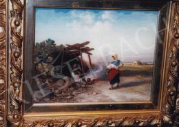 Böhm Pál - Tűz mellett; 21,3x27; olaj, fa; Jelezve balra lent: Fecit Paul Bőhm; Fotó: Kieselbach Tamás