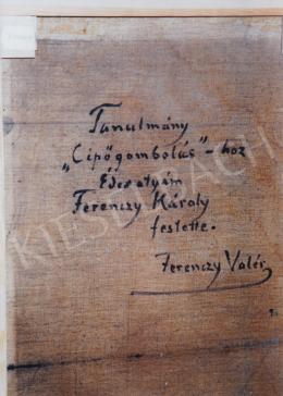 Ferenczy Károly - Tanulmány a cipőgomboláshoz hátoldala; 55x35,5 cm; olaj, vászon; jelezve a hátoldalon: Tanulmány a