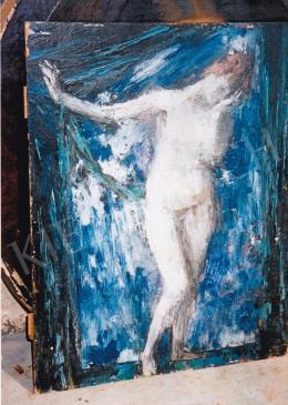 Vaszary János - Akt kék háttérrel, 1920 körül; Tisztítás előtti állapot; 50x39,5; olaj, fa; Jelezve jobbra lent: Vaszary; Fotó: Kieselbach Tamás