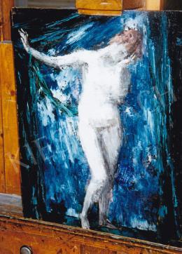 Vaszary János - Akt kék háttérrel, 1920 körül; 50x39.5 cm; Olaj, fa; Jelezve jobbra lent: Vaszary; Fotó: Kieselbach Tamás