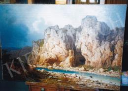 Ligeti Antal - Folyóparti sziklás táj várrommal; 78x116; olaj, vászon; Jelezve jobbra lent: Ligeti A. 88; Fotó: Kieselbach Tamás