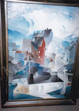 Barzó Endre - Város, (Emlékezés Budára), 1930; 100,5x70; olaj, vászon; Jelezve jobbra lent: Barzó E. 1930; Fotó: Kieselbach Tamás