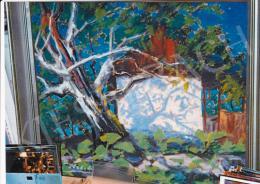 Sztelek Norbert - Árnyékos fehér ház; olaj, vászon; Jelezve balra lent: Sztelek; Fotó: Kieselbach Tamás