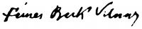 Fémes Beck Vilmos aláírása
