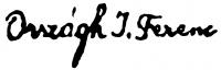 Országh Imre Ferenc aláírása