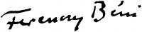 Ferenczy Béni aláírása