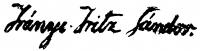 Irányi Iritz Sándor aláírása