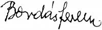 Bordás Ferenc aláírása