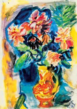 Frank Frigyes - Virágcsendélet vörös dáliákkal