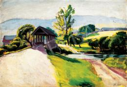 Pór Bertalan - Napsütötte táj híddal, 1909