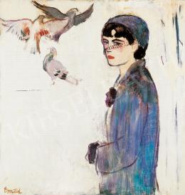 Emőd Aurél - Fiatal lány fátylas kalapban, lila kesztyűvel