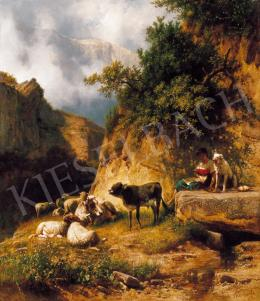 Markó, András - Italian Landscape with a Shepherdess, Resting by the Mountain Spring, 1888