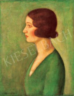 Czigány Dezső - Hölgy zöld blúzban