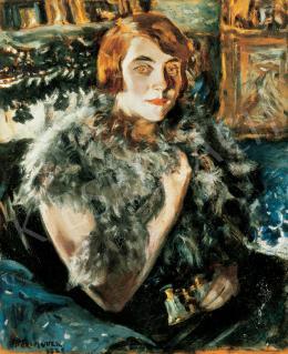 Perlmutter Izsák - Boás hölgy színházi távcsővel, 1925