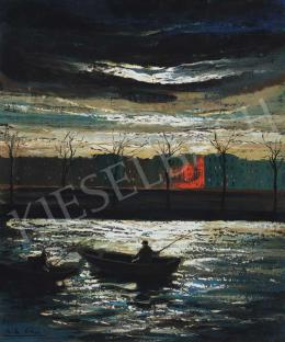 Corini, Margit - Riverbank in Moonlight (The Bank of the Seine)