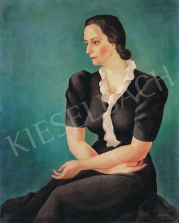 Jánoska, Tivadar - Model in a Silk Dress, 1943