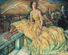 Batthyány Gyula - Előkelő hölgy képmása, háttérben az esti Budapesttel (1930-as évek)