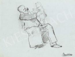 Munkácsy Mihály - Nagypapa az unokájával (Vázlat a munkáscsaládhoz)