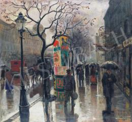 Pólya, Tibor - Boulevard in the Rain with a Hansom Cab