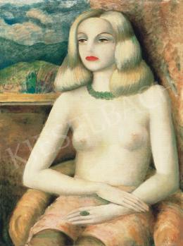 Klie Zoltán - Gyöngysoros modell háttérben tájjal (Ila fotelben), 1931 körül
