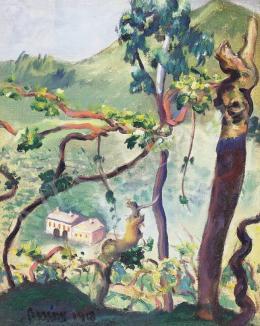 Berény Róbert - Kilátás a fák közül, 1918