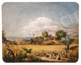 Id. Markó, Károly sr. - Italian Landscape with Harvesters, 1851