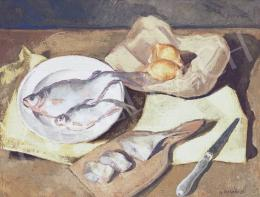 Szalmás Béla - Halas csendélet, 1951